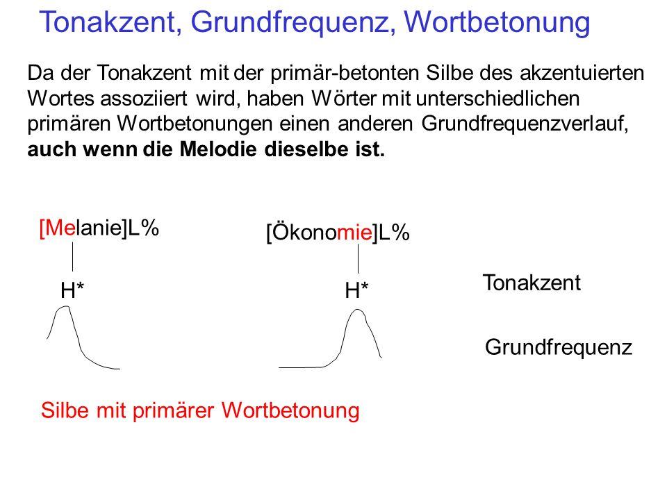 Tonakzent, Grundfrequenz, Wortbetonung Da der Tonakzent mit der primär-betonten Silbe des akzentuierten Wortes assoziiert wird, haben Wörter mit unter