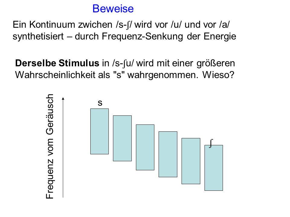 Ein Kontinuum zwichen /s- ʃ / wird vor /u/ und vor /a/ synthetisiert – durch Frequenz-Senkung der Energie Beweise s ʃ Frequenz vom Geräusch Derselbe Stimulus in /s- ʃ u/ wird mit einer größeren Wahrscheinlichkeit als s wahrgenommen.