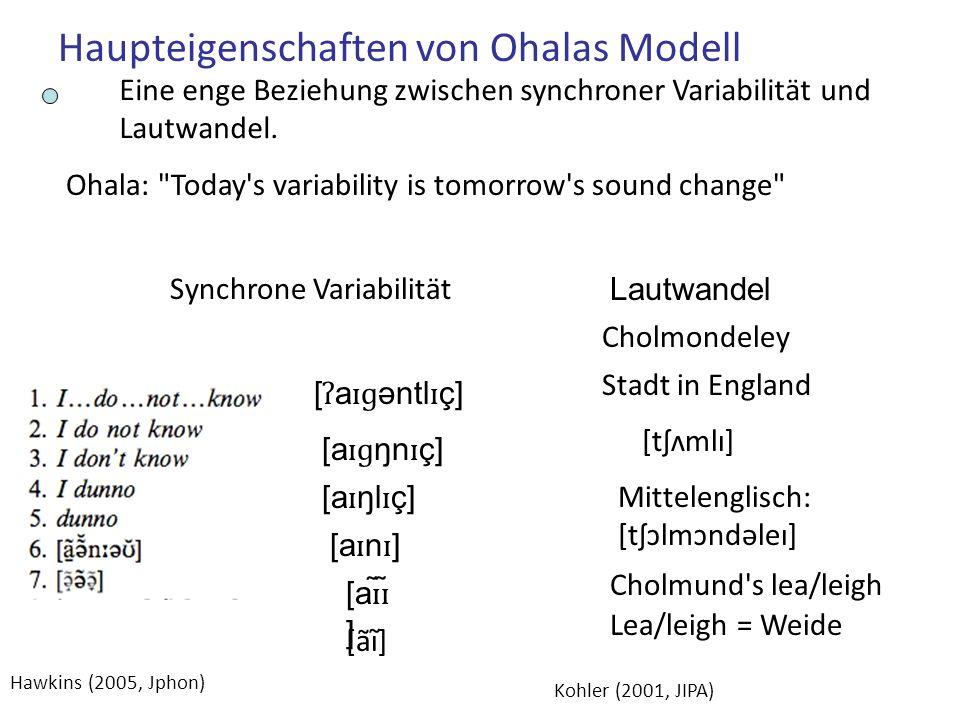 Haupteigenschaften von Ohalas Modell Eine enge Beziehung zwischen synchroner Variabilität und Lautwandel.
