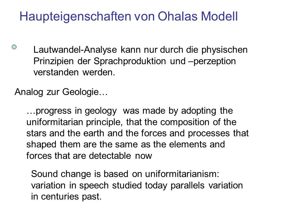 Lautwandel-Analyse kann nur durch die physischen Prinzipien der Sprachproduktion und –perzeption verstanden werden.