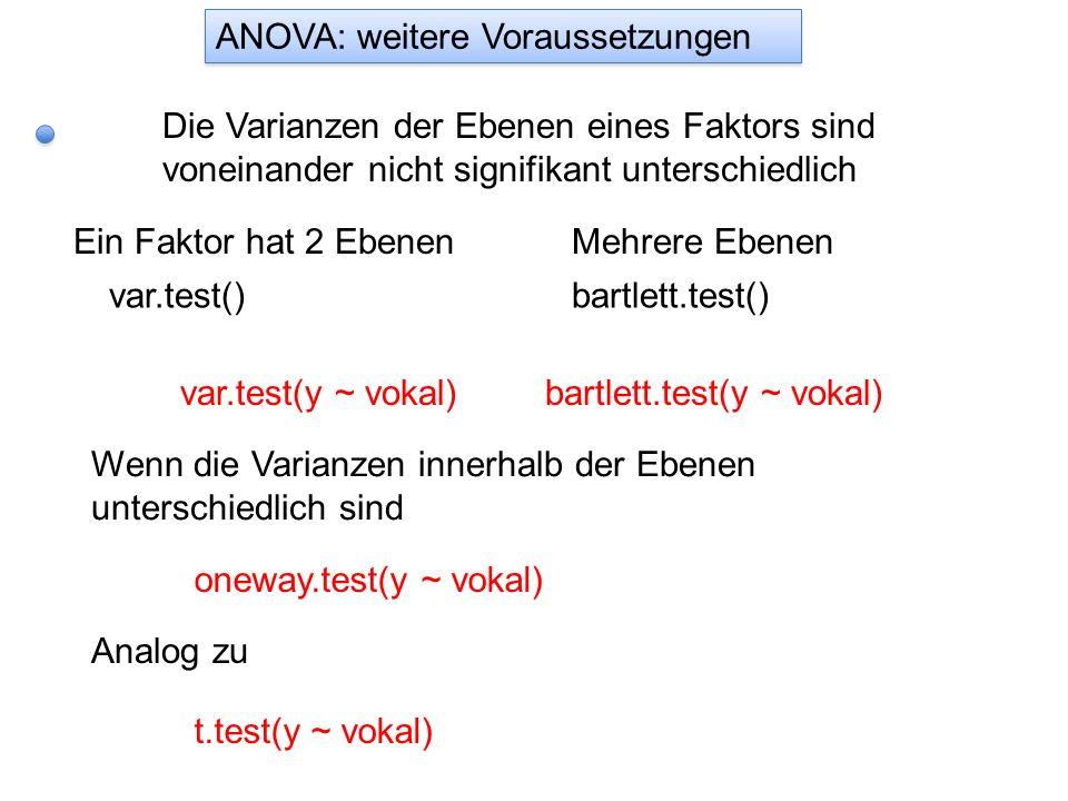 ANOVA: weitere Voraussetzungen Die Varianzen der Ebenen eines Faktors sind voneinander nicht signifikant unterschiedlich Ein Faktor hat 2 Ebenen var.t