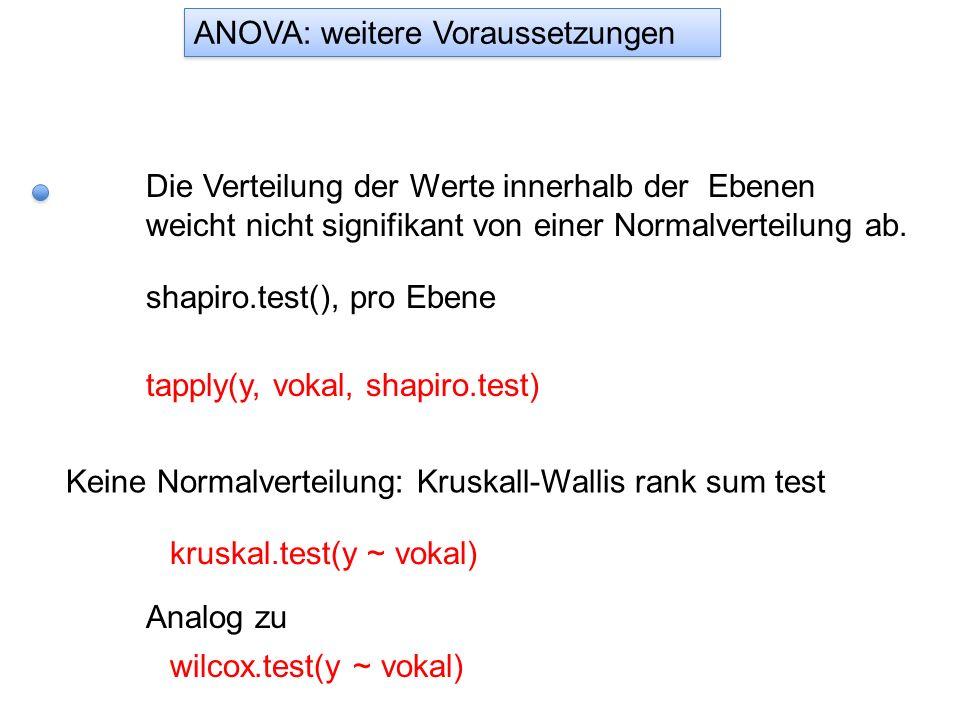 Die Verteilung der Werte innerhalb der Ebenen weicht nicht signifikant von einer Normalverteilung ab. shapiro.test(), pro Ebene tapply(y, vokal, shapi