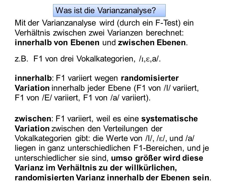 Was ist die Varianzanalyse? Mit der Varianzanalyse wird (durch ein F-Test) ein Verhältnis zwischen zwei Varianzen berechnet: innerhalb von Ebenen und