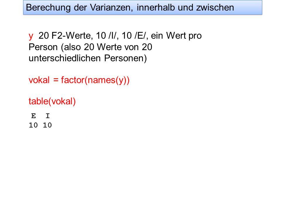 y 20 F2-Werte, 10 /I/, 10 /E/, ein Wert pro Person (also 20 Werte von 20 unterschiedlichen Personen) vokal = factor(names(y)) Berechung der Varianzen,
