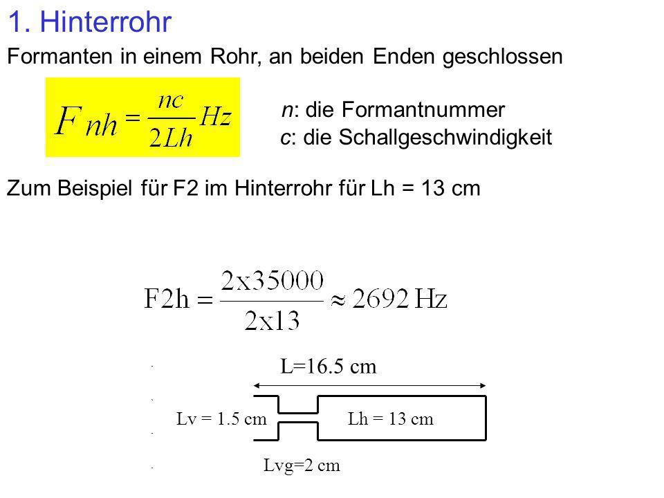 1. Hinterrohr Formanten in einem Rohr, an beiden Enden geschlossen Zum Beispiel für F2 im Hinterrohr für Lh = 13 cm Lv = 1.5 cmLh = 13 cm L=16.5 cm Lv
