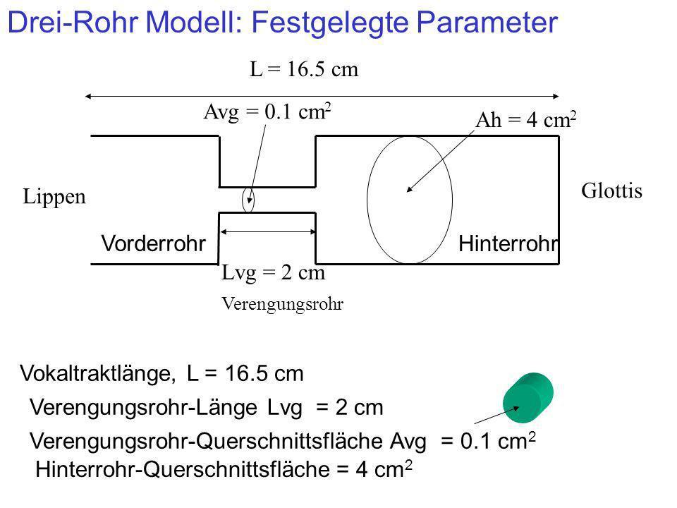 Drei-Rohr Modell: Festgelegte Parameter Lippen Glottis Vorderrohr Hinterrohr Lvg = 2 cm Verengungsrohr Verengungsrohr-Länge Lvg = 2 cm Ah = 4 cm 2 Hin