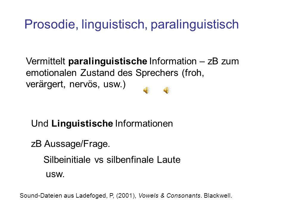 Prosodie, linguistisch, paralinguistisch Vermittelt paralinguistische Information – zB zum emotionalen Zustand des Sprechers (froh, verärgert, nervös, usw.) Und Linguistische Informationen zB Aussage/Frage.