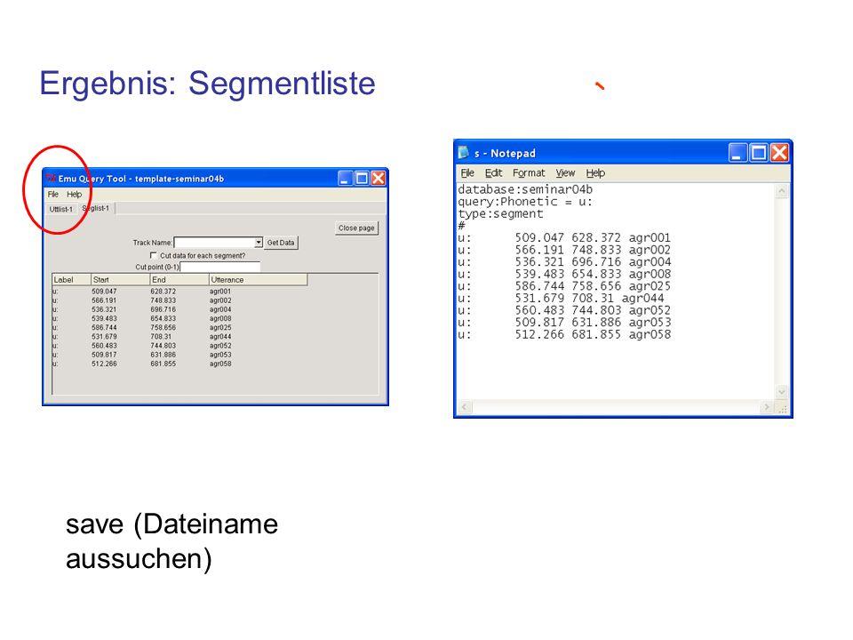 Ergebnis: Segmentliste save (Dateiname aussuchen)