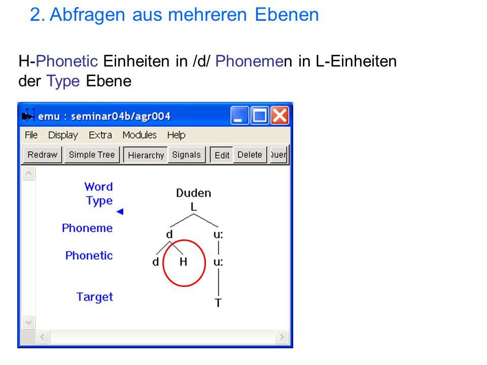 H-Phonetic Einheiten in /d/ Phonemen in L-Einheiten der Type Ebene 2. Abfragen aus mehreren Ebenen