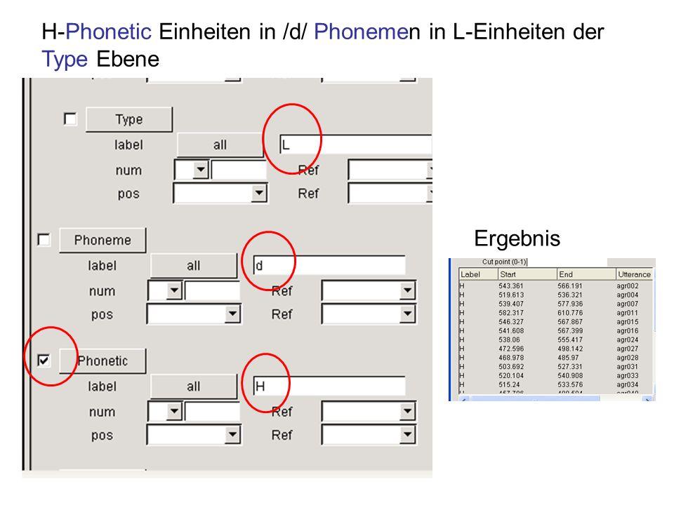 H-Phonetic Einheiten in /d/ Phonemen in L-Einheiten der Type Ebene Ergebnis
