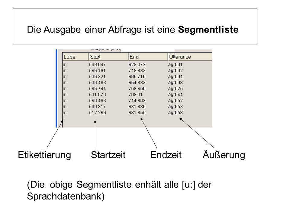 Die Ausgabe einer Abfrage ist eine Segmentliste EtikettierungStartzeitEndzeitÄußerung (Die obige Segmentliste enhält alle [u:] der Sprachdatenbank)
