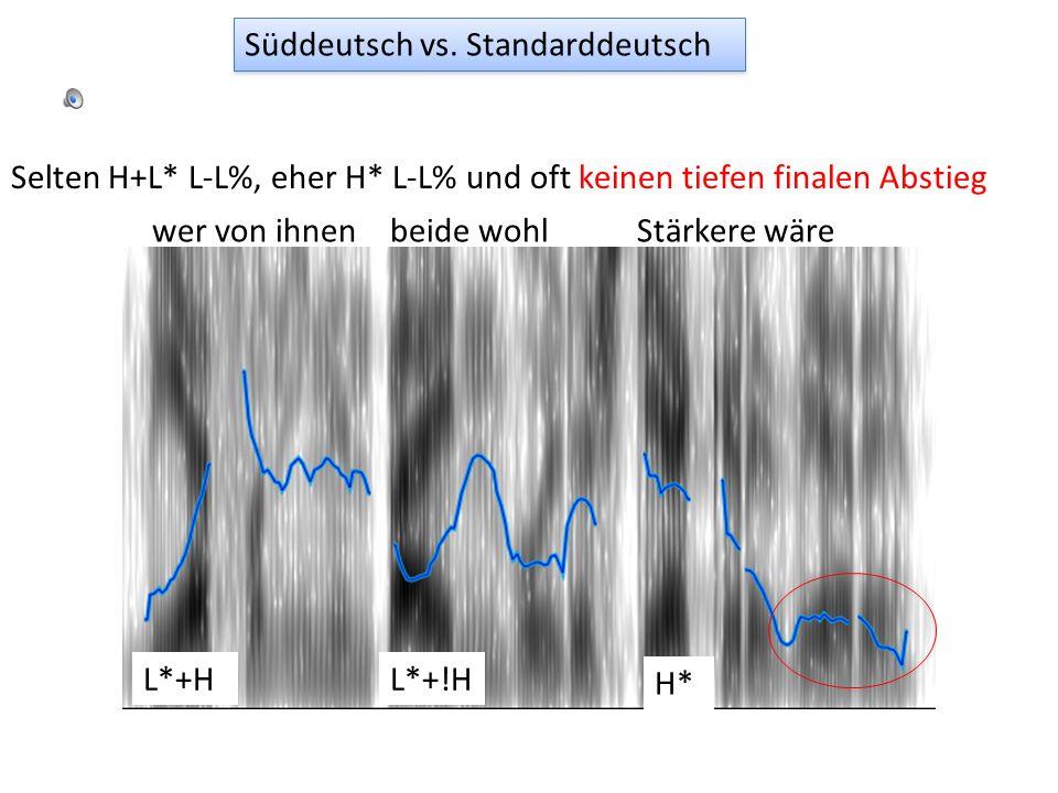 1. Statt H* L-H% oft L*+H H- L% für Fortsetzung Einststritten sichNordwindSonne]H-L% Süddeutsch vs. Standarddeutsch L*+H L*+!HL*+H