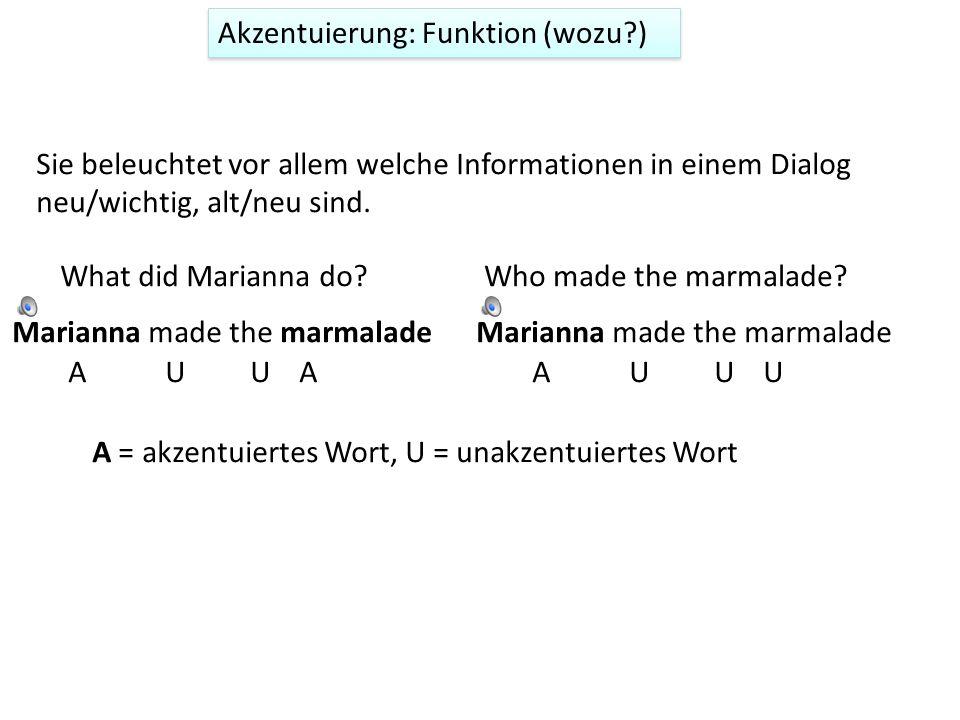 Akzentuierung: Definition (was?) Die Akzentuierung bestimmt die relative Deutlichkeit der Wörter einer Äußerung. Marianna made the marmalade Akzentuie