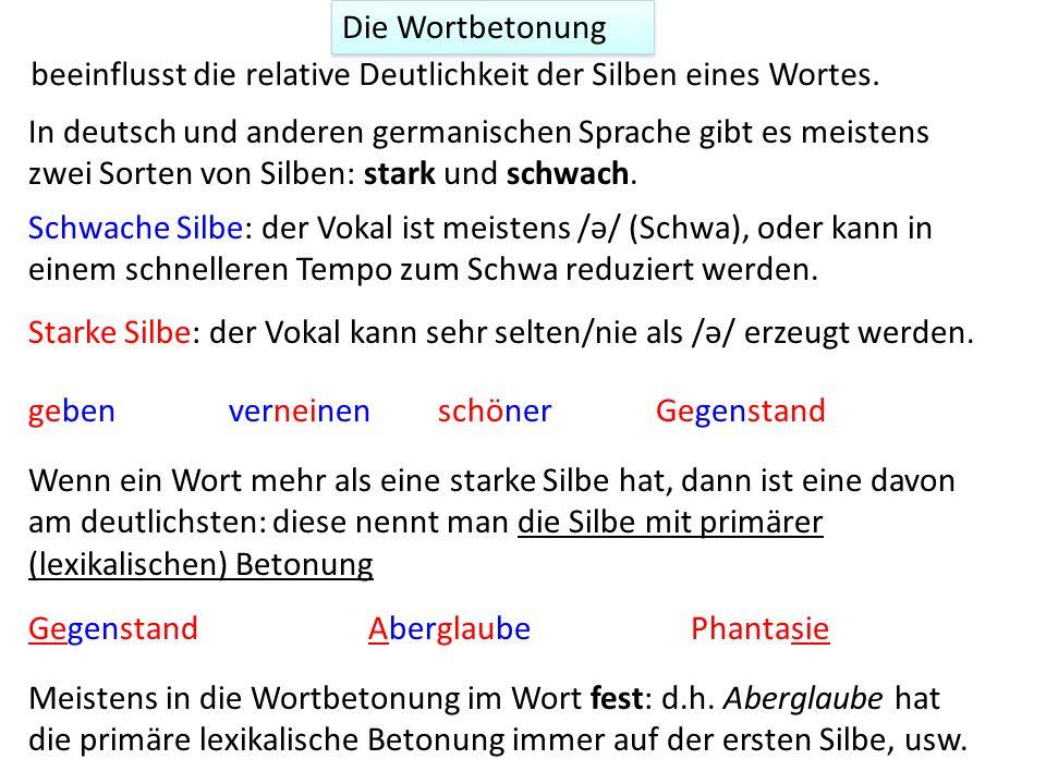 Wortprosodie Ton Quantität Betonung Unterschiede in der Silbendeutlichkeit z.B. übersetzen; übersetzen Sound-Dateien aus Ladefoged, P, (2001), Vowels