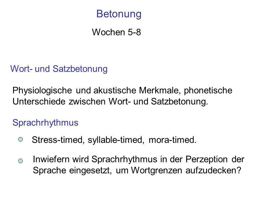 2. Die Phonotaktik Die Regeln, die die erlaubten Silben bestimmen. Universelle Tendenzen Sprachen bevorzugen /pl/ im Anlaut, /lp/ im Auslaut. /pw/ ist
