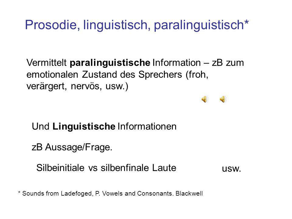 Was ist die Prosodie? Eine phonetische Definition Die Prosodie (manchmal auch Suprasegmentalia): die Beiträge der Dauer, Grundfrequenz, und Amplitude