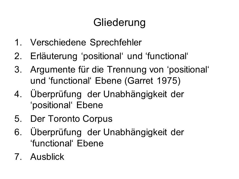 Gliederung 1.Verschiedene Sprechfehler 2.Erläuterung positional und functional 3.Argumente für die Trennung von positional und functional Ebene (Garre
