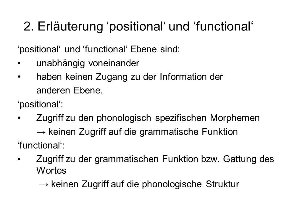 2. Erläuterung positional und functional positional und functional Ebene sind: unabhängig voneinander haben keinen Zugang zu der Information der ander