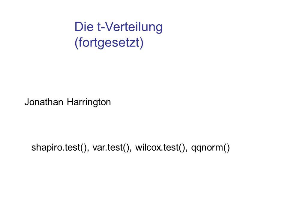 Die t-Verteilung (fortgesetzt) Jonathan Harrington shapiro.test(), var.test(), wilcox.test(), qqnorm()