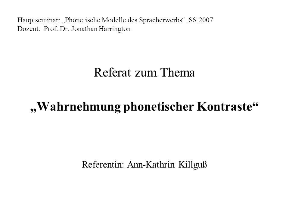 Hauptseminar: Phonetische Modelle des Spracherwerbs, SS 2007 Dozent: Prof. Dr. Jonathan Harrington Referat zum Thema Wahrnehmung phonetischer Kontrast