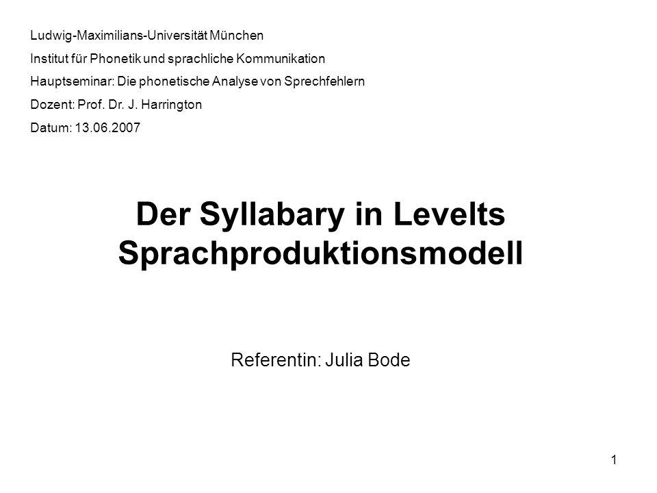 1 Ludwig-Maximilians-Universität München Institut für Phonetik und sprachliche Kommunikation Hauptseminar: Die phonetische Analyse von Sprechfehlern D