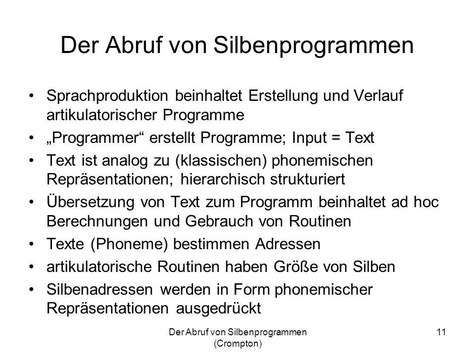 Der Abruf von Silbenprogrammen (Crompton) 11 Der Abruf von Silbenprogrammen Sprachproduktion beinhaltet Erstellung und Verlauf artikulatorischer Progr