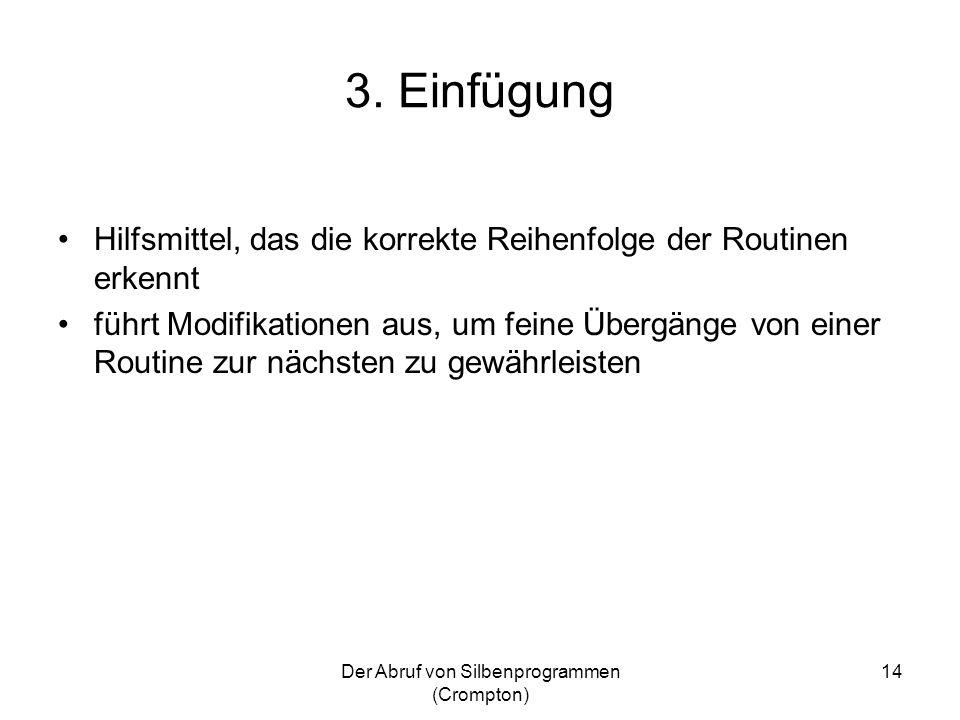 Der Abruf von Silbenprogrammen (Crompton) 14 3. Einfügung Hilfsmittel, das die korrekte Reihenfolge der Routinen erkennt führt Modifikationen aus, um