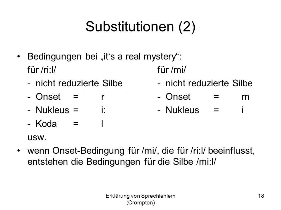 Erklärung von Sprechfehlern (Crompton) 18 Substitutionen (2) Bedingungen bei its a real mystery: für /ri:l/für /mi/- nicht reduzierte Silbe - Onset=r-