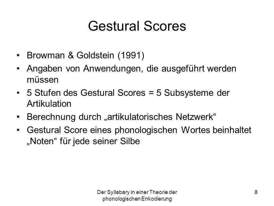 8 Gestural Scores Browman & Goldstein (1991) Angaben von Anwendungen, die ausgeführt werden müssen 5 Stufen des Gestural Scores = 5 Subsysteme der Art