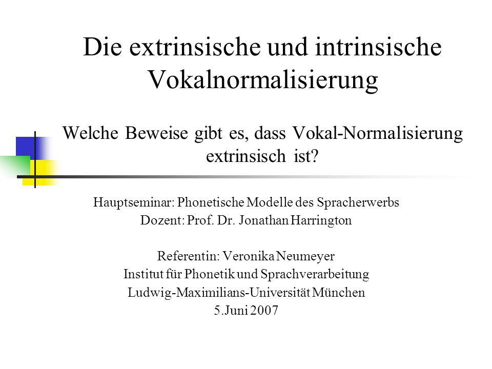 Die extrinsische und intrinsische Vokalnormalisierung Welche Beweise gibt es, dass Vokal-Normalisierung extrinsisch ist.
