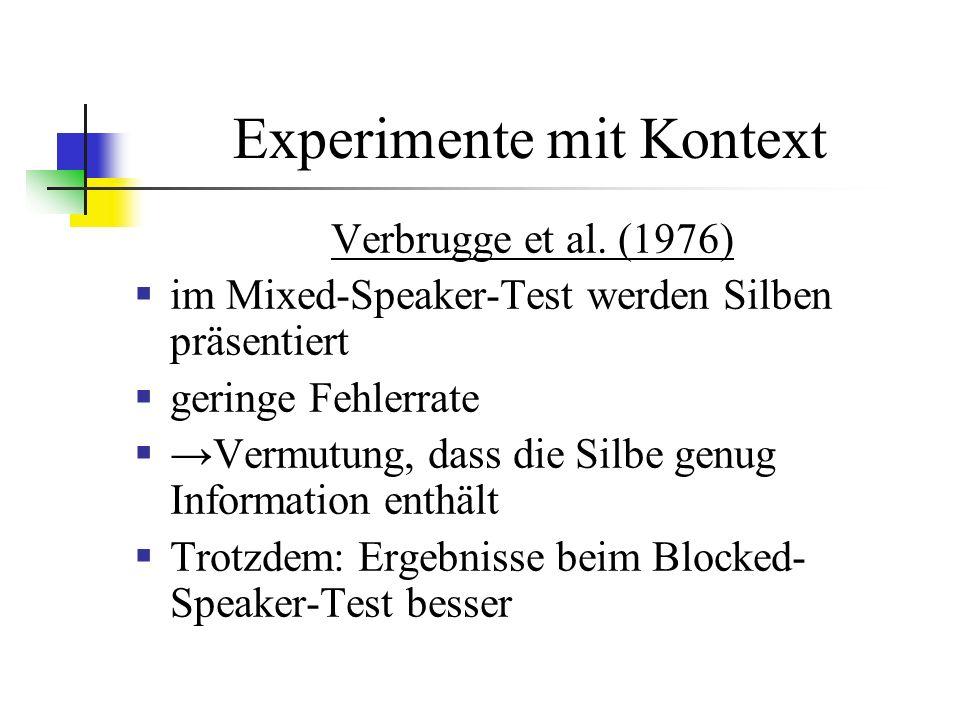 Experimente mit Kontext Verbrugge et al.