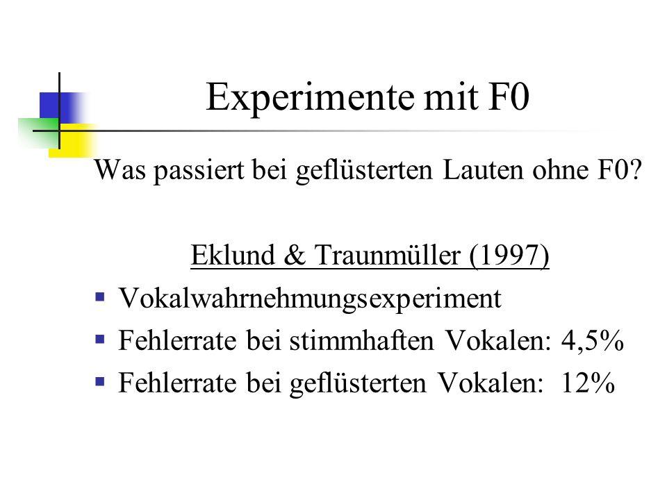 Experimente mit F0 Was passiert bei geflüsterten Lauten ohne F0.