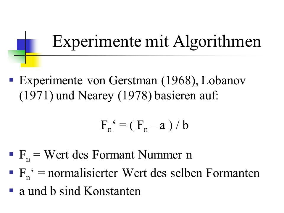 Experimente mit Algorithmen Experimente von Gerstman (1968), Lobanov (1971) und Nearey (1978) basieren auf: F n = ( F n – a ) / b F n = Wert des Formant Nummer n F n = normalisierter Wert des selben Formanten a und b sind Konstanten