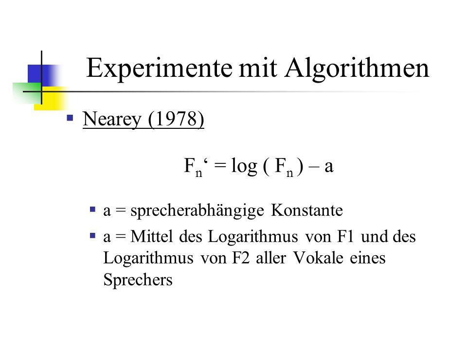 Experimente mit Algorithmen Nearey (1978) F n = log ( F n ) – a a = sprecherabhängige Konstante a = Mittel des Logarithmus von F1 und des Logarithmus von F2 aller Vokale eines Sprechers