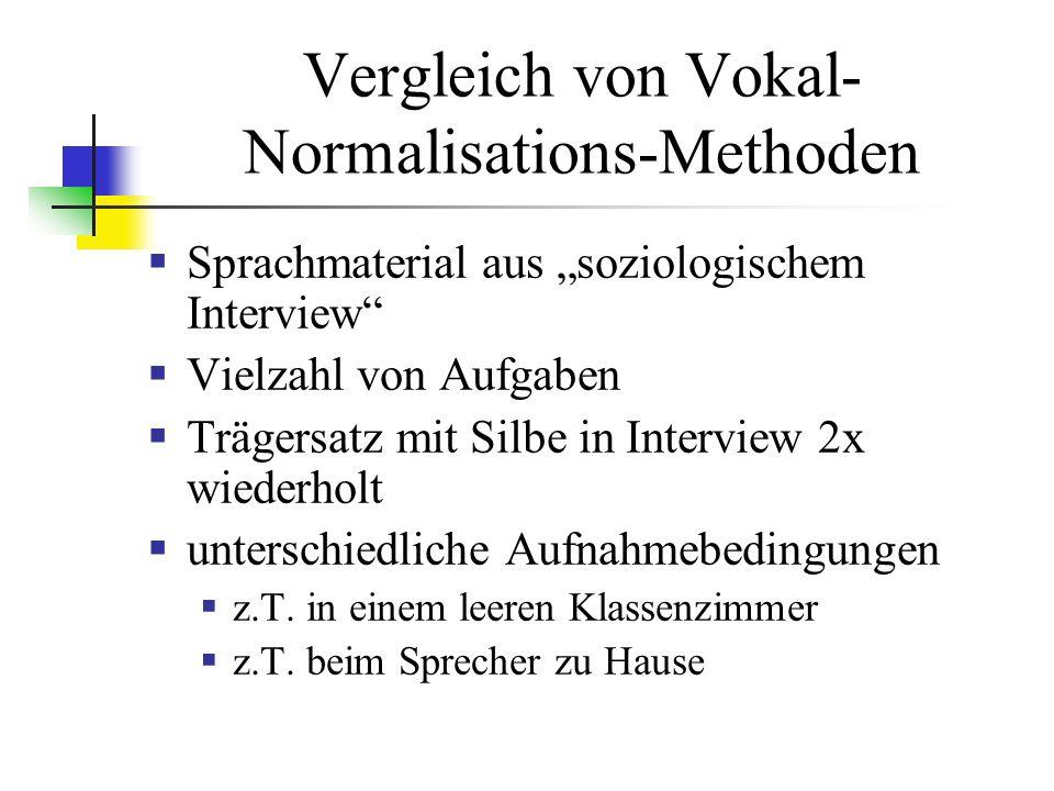 Vergleich von Vokal- Normalisations-Methoden Sprachmaterial aus soziologischem Interview Vielzahl von Aufgaben Trägersatz mit Silbe in Interview 2x wiederholt unterschiedliche Aufnahmebedingungen z.T.