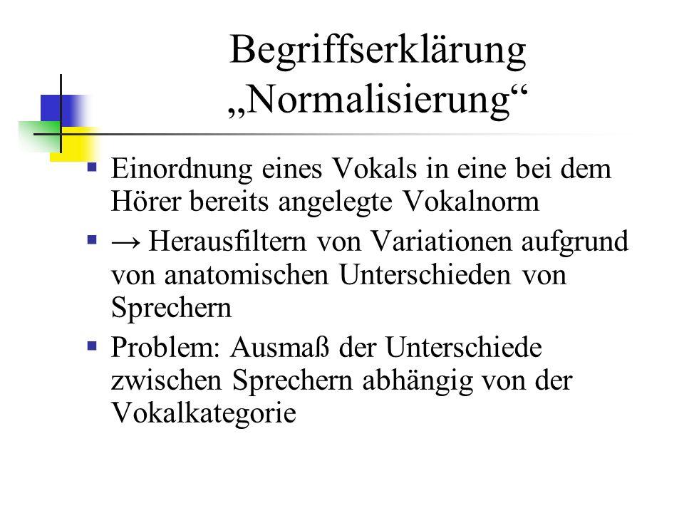 Begriffserklärung Normalisierung Einordnung eines Vokals in eine bei dem Hörer bereits angelegte Vokalnorm Herausfiltern von Variationen aufgrund von anatomischen Unterschieden von Sprechern Problem: Ausmaß der Unterschiede zwischen Sprechern abhängig von der Vokalkategorie