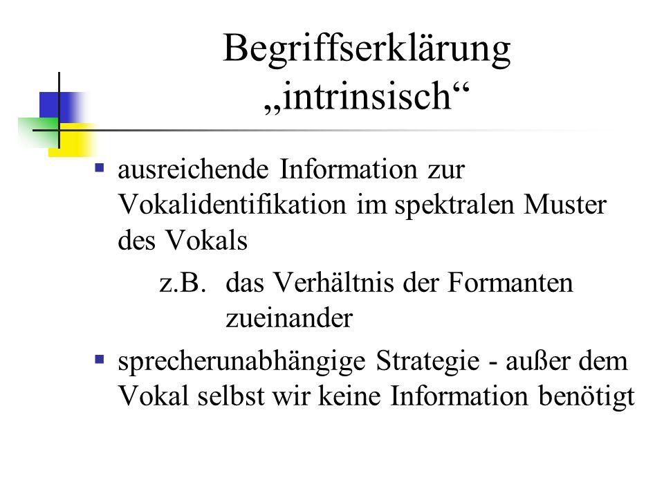 Begriffserklärung intrinsisch ausreichende Information zur Vokalidentifikation im spektralen Muster des Vokals z.B.