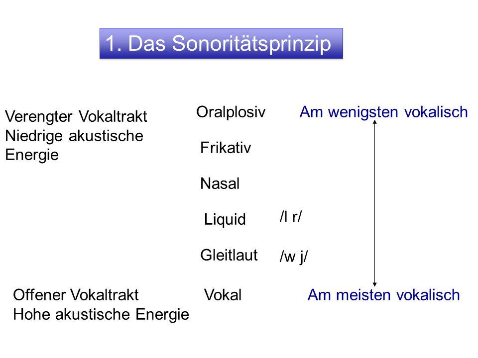 schlecht = / ʃlɛçt / folgt dem Sonoritätsprinzip niedrig hoch ʃ l ɛ ç t Sonorität In Sprachen der Welt wäre zB initial /fla/ (folgt dem S- Prinzip) wahrscheinlicher als initial /lfa/ usw.