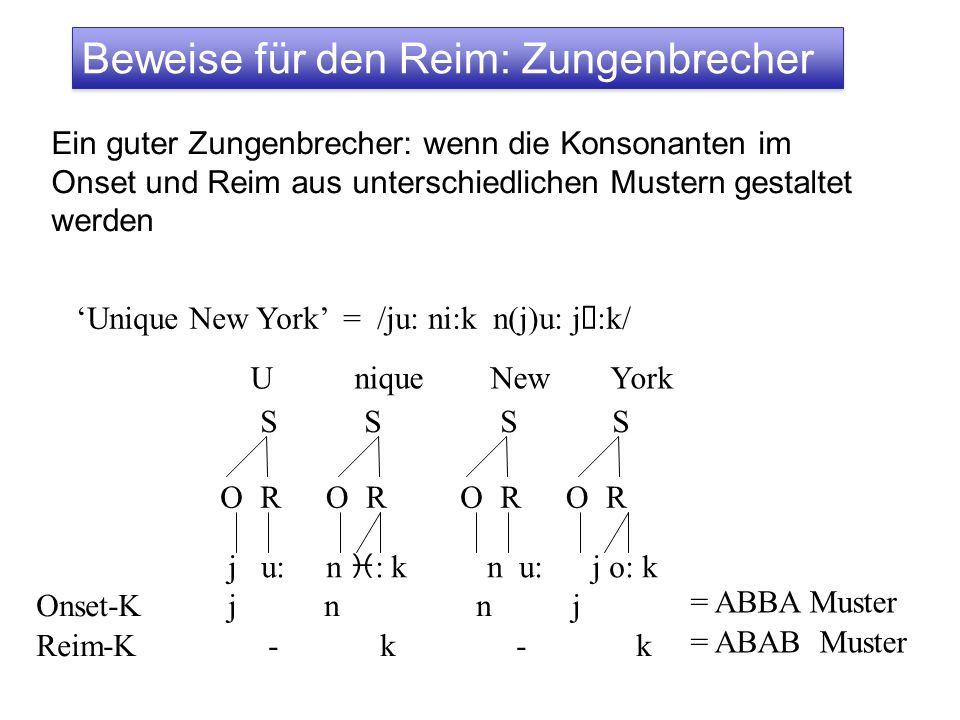 Beweise für den Reim: Zungenbrecher Ein guter Zungenbrecher: wenn die Konsonanten im Onset und Reim aus unterschiedlichen Mustern gestaltet werden Uni