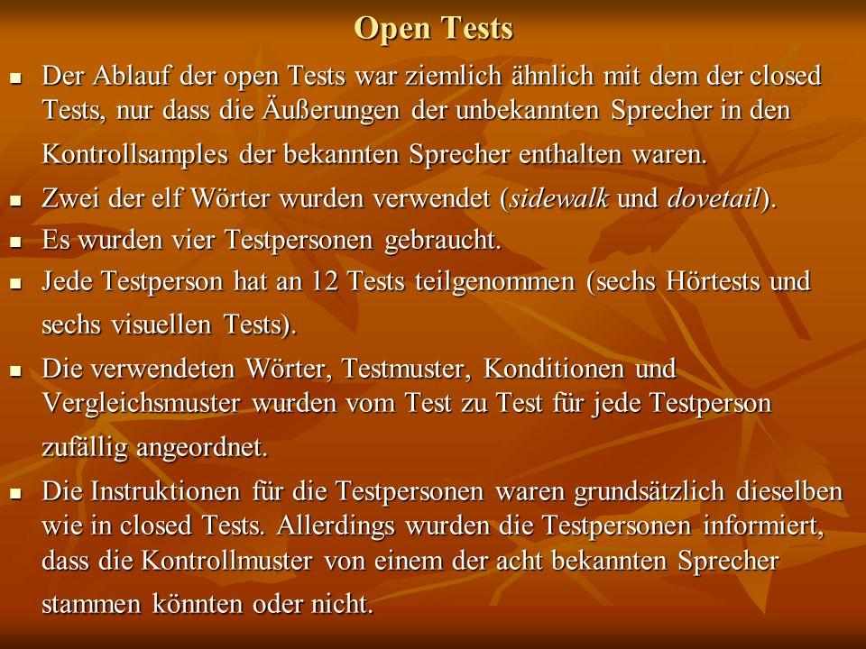 Open Tests Der Ablauf der open Tests war ziemlich ähnlich mit dem der closed Tests, nur dass die Äußerungen der unbekannten Sprecher in den Kontrollsa