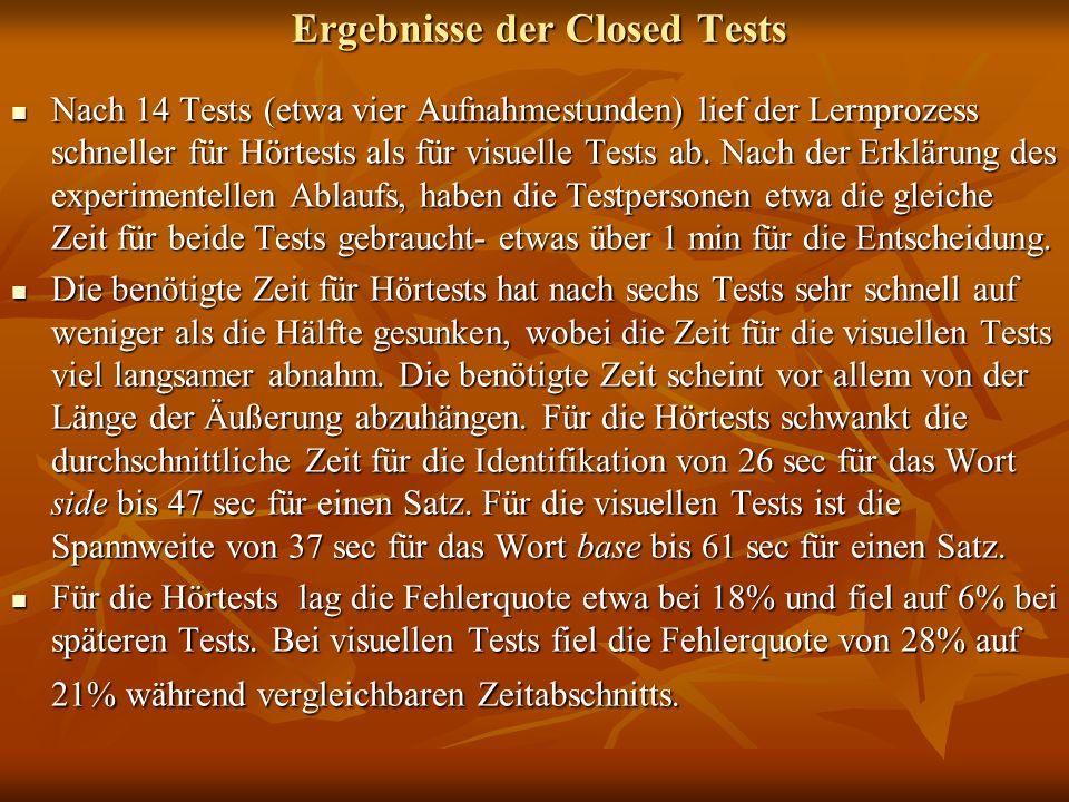 Ergebnisse der Closed Tests Nach 14 Tests (etwa vier Aufnahmestunden) lief der Lernprozess schneller für Hörtests als für visuelle Tests ab. Nach der