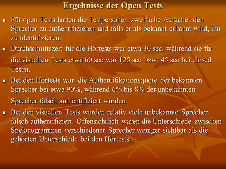 Ergebnisse der Open Tests Für open Tests hatten die Testpersonen zweifache Aufgabe: den Sprecher zu authentifizieren und falls er als bekannt erkannt