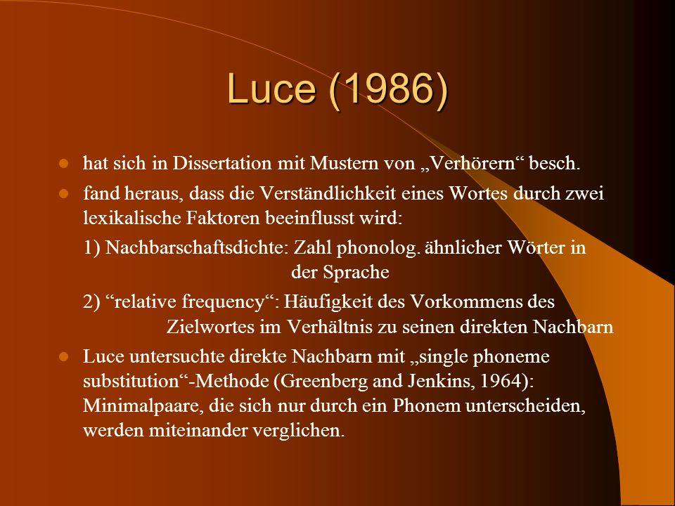 Luce (1986) hat sich in Dissertation mit Mustern von Verhörern besch. fand heraus, dass die Verständlichkeit eines Wortes durch zwei lexikalische Fakt