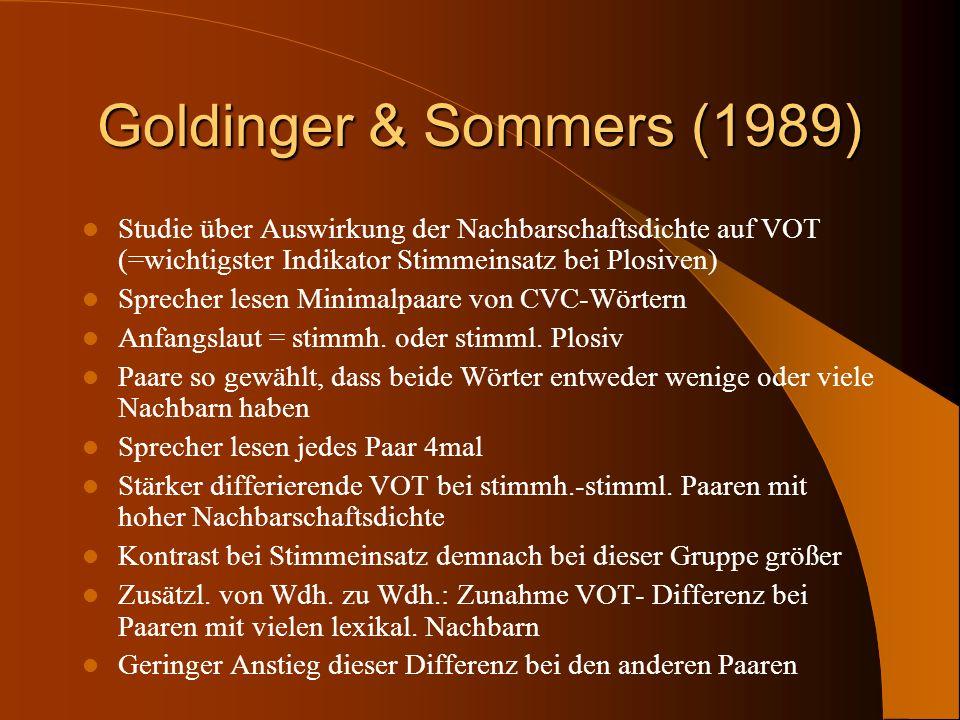 Goldinger & Sommers (1989) Studie über Auswirkung der Nachbarschaftsdichte auf VOT (=wichtigster Indikator Stimmeinsatz bei Plosiven) Sprecher lesen M