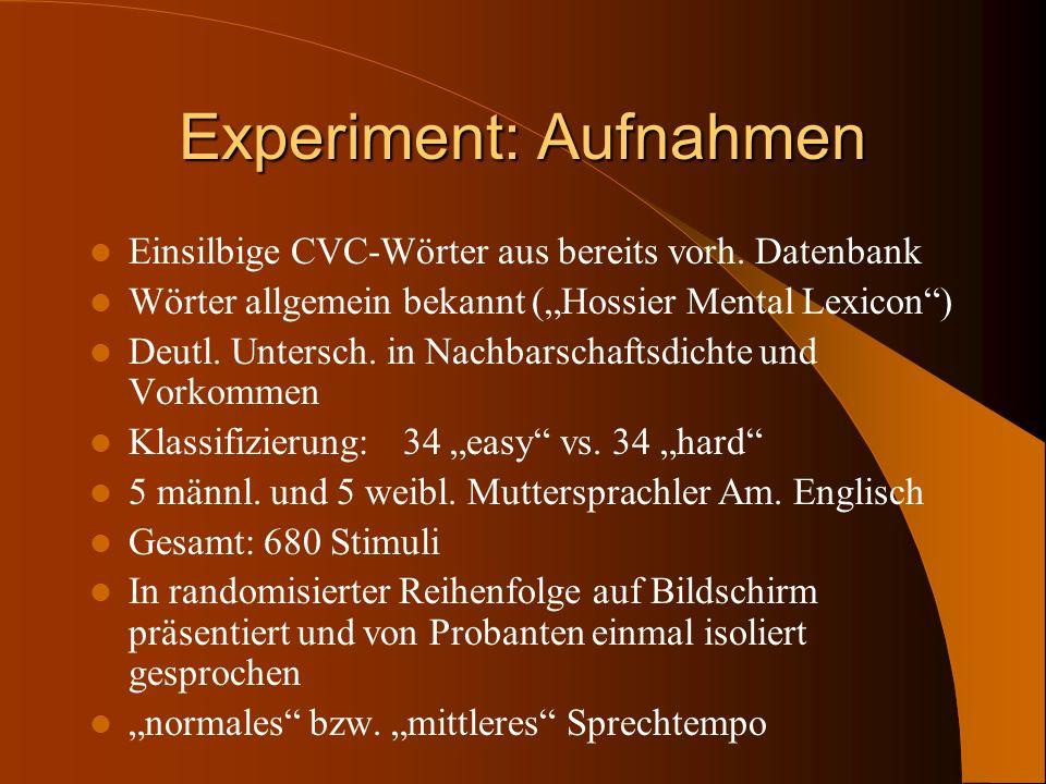 Experiment: Aufnahmen Einsilbige CVC-Wörter aus bereits vorh. Datenbank Wörter allgemein bekannt (Hossier Mental Lexicon) Deutl. Untersch. in Nachbars