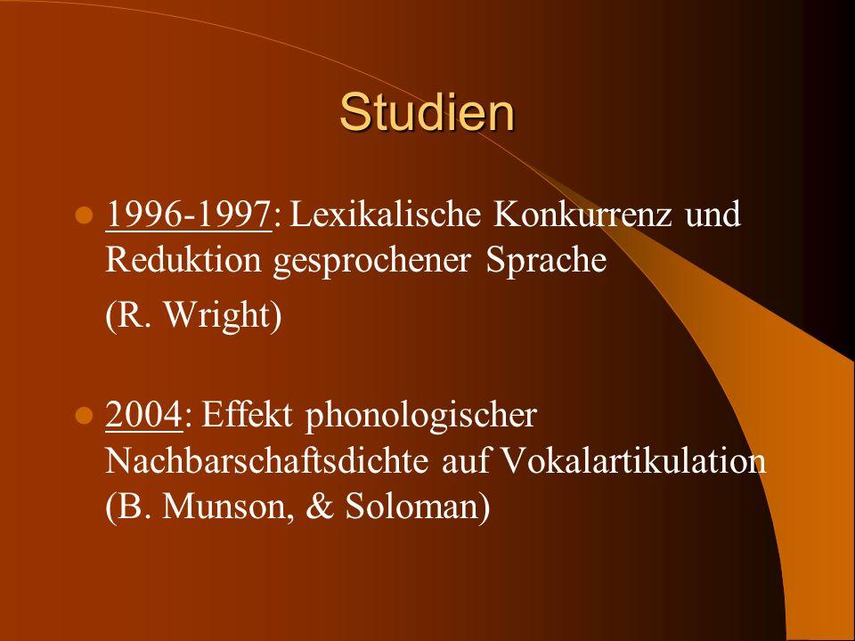 Studien 1996-1997: Lexikalische Konkurrenz und Reduktion gesprochener Sprache (R. Wright) 2004: Effekt phonologischer Nachbarschaftsdichte auf Vokalar