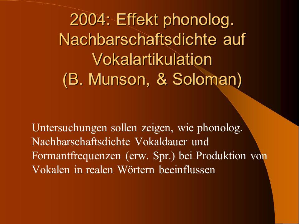 2004: Effekt phonolog. Nachbarschaftsdichte auf Vokalartikulation (B. Munson, & Soloman) Untersuchungen sollen zeigen, wie phonolog. Nachbarschaftsdic