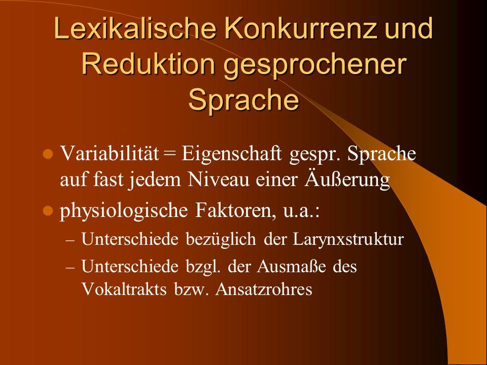 Lexikalische Konkurrenz und Reduktion gesprochener Sprache Variabilität = Eigenschaft gespr. Sprache auf fast jedem Niveau einer Äußerung physiologisc