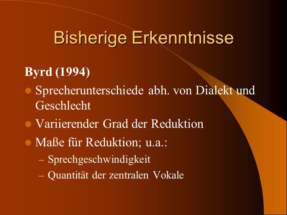 Bisherige Erkenntnisse Byrd (1994) Sprecherunterschiede abh. von Dialekt und Geschlecht Variierender Grad der Reduktion Maße für Reduktion; u.a.: – Sp