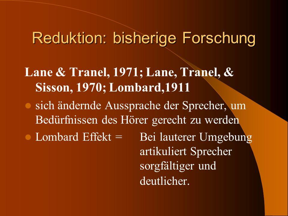 Reduktion: bisherige Forschung Lane & Tranel, 1971; Lane, Tranel, & Sisson, 1970; Lombard,1911 sich ändernde Aussprache der Sprecher, um Bedürfnissen